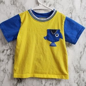 Healthtex Short Sleeves Yellow Tee with blue fish